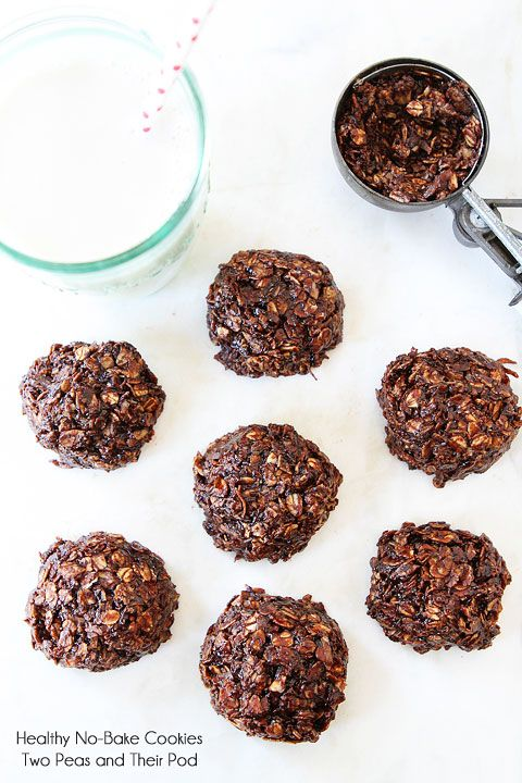 Healthy No-Bake Cookie Recipe on twopeasandtheirpo... These cookies are gluten-free, vegan, and SO good!