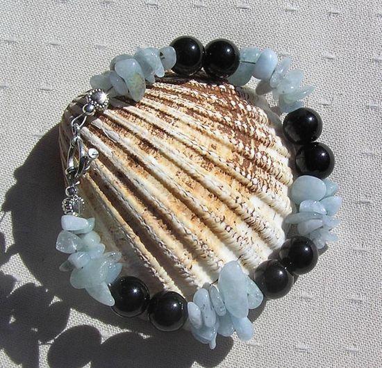 Black Onyx & Aquamarine Crystal Gemstone Bracelet by SunnyCrystals, £8.15