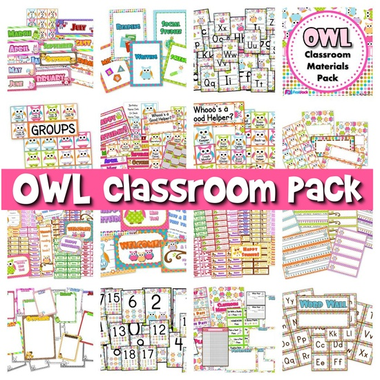($) All you need for an adorable owl theme!  Pack includes:  * Alphabet A to Z  * 6 Binder Covers  * Cute Owl Classroom Jobs Display  * Birthday Poster  * Birthday Owls and Month Headers  * Calendar Title, Month Headers, and 31 Date Squares  * Grouping Cards  * 7 Name Tag Designs for early and upper elementary  * 10 Seasonal Mini-Notes - fall, Halloween, Thanksgiving, Christmas, President's Day, Valentine's Day, spring, Easter, and summer  * 6 Student Postcards  And LOTS more!