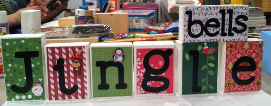 Reverse wood blocks give thanks and jingle bells