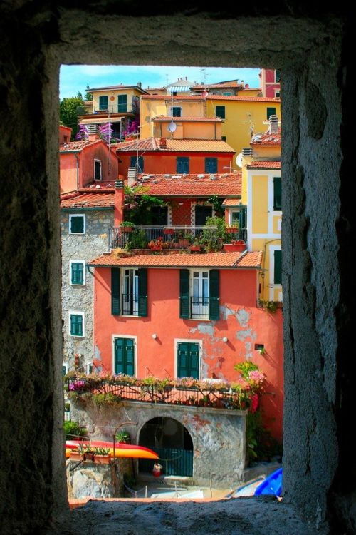 Window View, Liguria, Italy. I can imagine wandering these lanes and finding a restaurant with a view.....