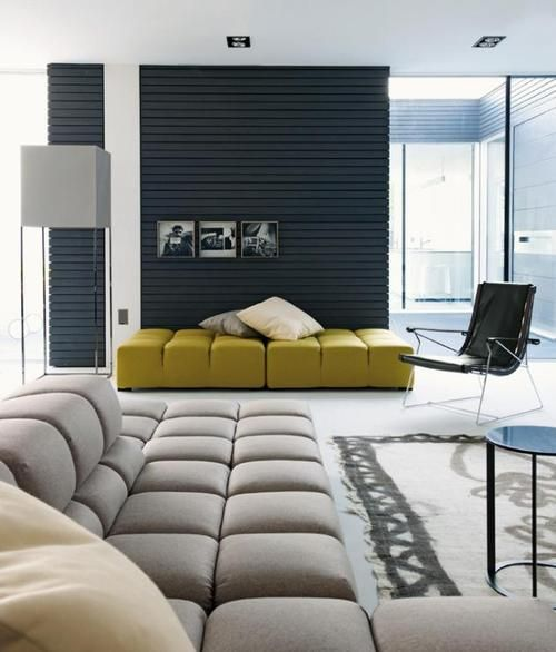 :: INTERIORS :: interior styled by B Italia featuring the Tufty sofa sectional, like the black feature wall and a punch of colour #interiors