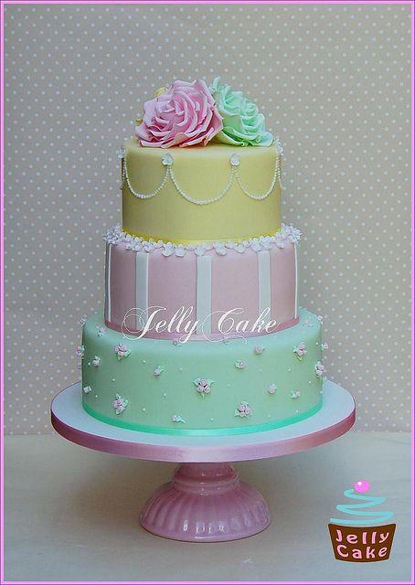 Pastel Roses Wedding Cake
