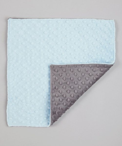 Take a look at this Lolly Gags Baby Blue & Charcoal Minky Security Blanket on zulily today!