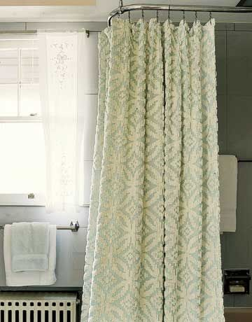 Complete your vintage tub with a retro-styled shower curtain easily made from a chenille bedspread. Hem it to the proper length, and install sturdy rivets to hold the shower hooks.