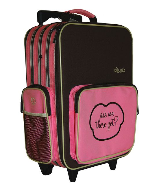 'Are We There Yet?' - Mini Roller Suitcase in Pink.