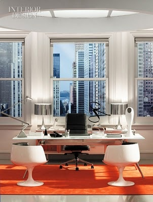 modern office orange and white