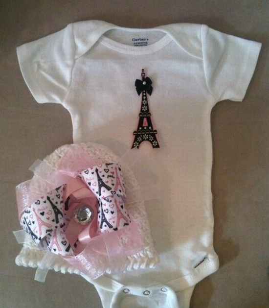 Paris outfit for baby girls with matching beanie hat by rbsDesigns, $35.00