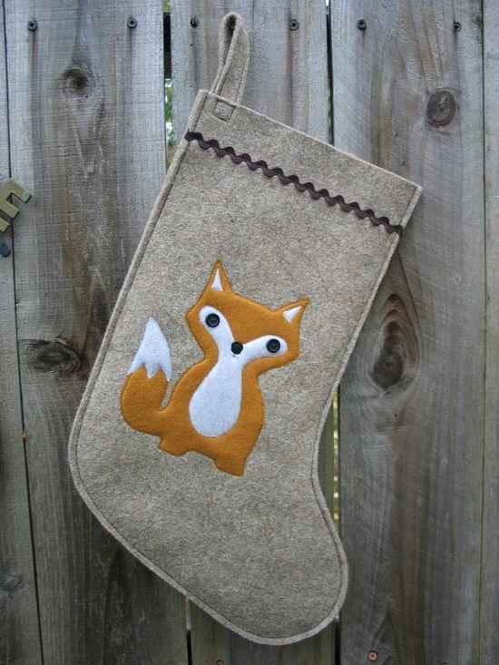 Christmas Stocking Woodland Baby Fox made of wool felt by echoshop, $45.00