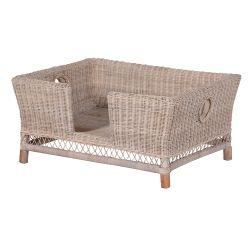 Large Grey Wash Rattan Dog Bed - secret garden interiors uk