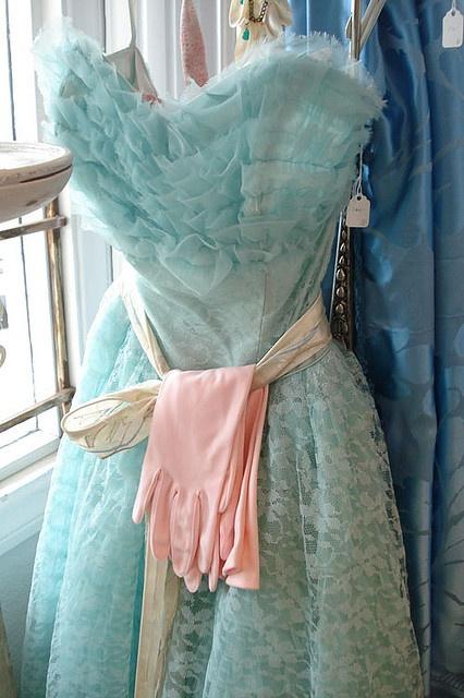vintage aqua prom dress