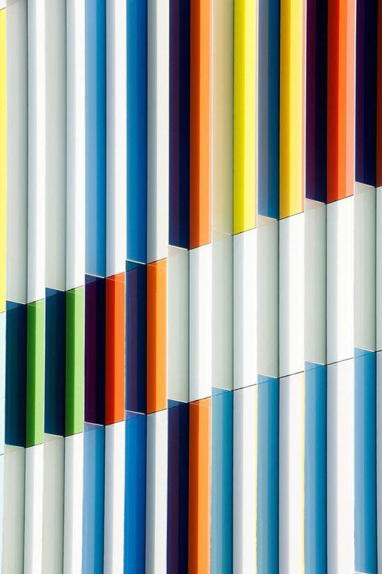 Colorful facade detail. Academie MWD Dilbeek