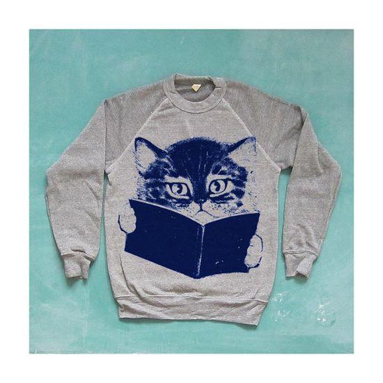 SALE / FURST EDITION sweater cat sweatshirt gray by kinshippress, $38.00