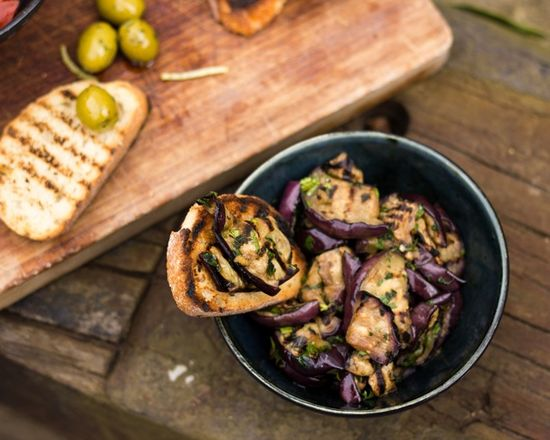 Minty Eggplant Bruschetta