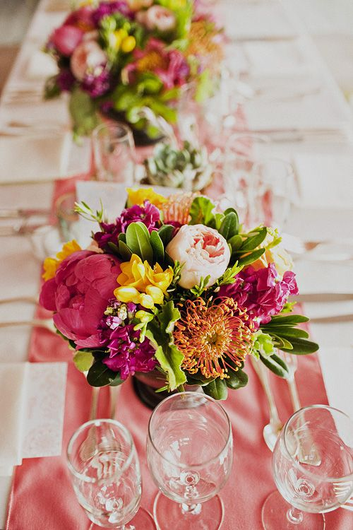 Pink Green and Orange Floral Reception Decor