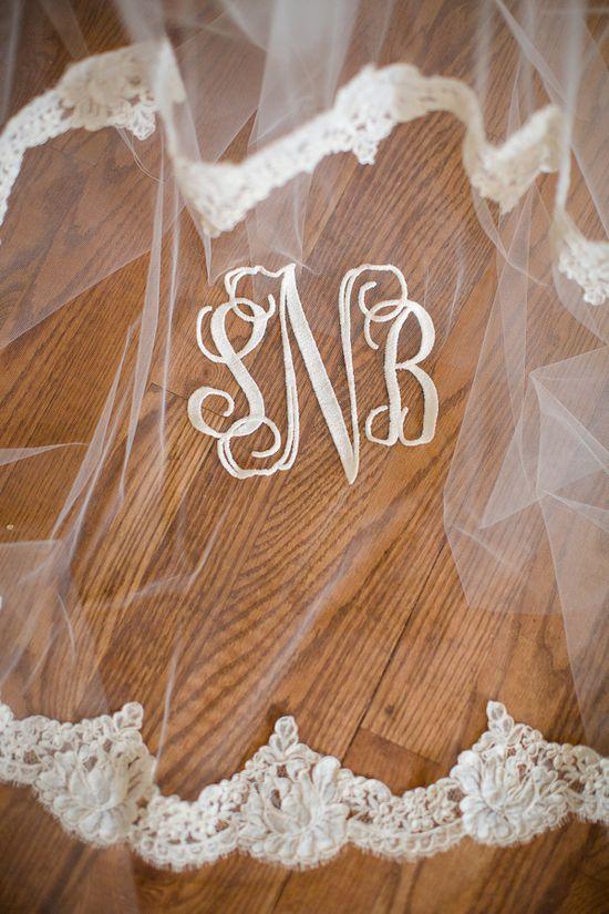 Southern wedding - monogrammed veil