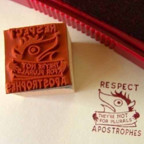 Respect Apostrophes  rubber stamp by fishcakesoboy on Etsy, $4.00