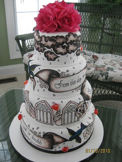 tattoo wedding cake by Any Way You Ice It.com, via Flickr