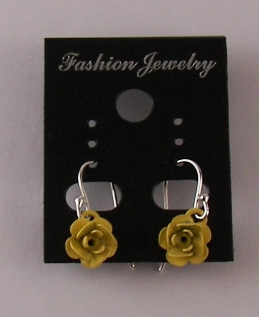 Sterling yellow Rose Dangle earrings Holiday Gift by ilovemy1984, $8.00