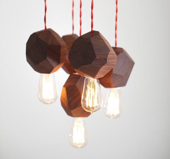 5 Chunk Modern Pendant/Solid Walnut By Dylan Design Company