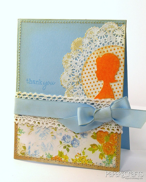 Shabby Chic & Vintage Silhouette Thank You Card by @Julie Campbell