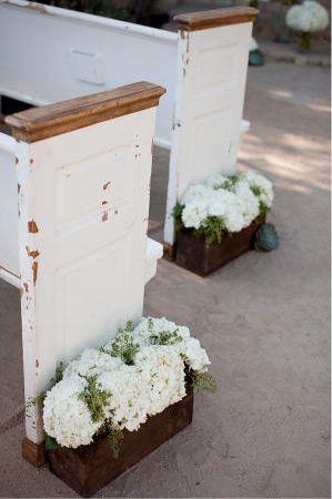 White hydrangeas in crates!