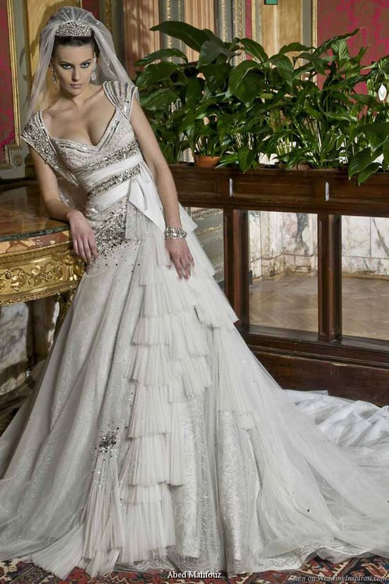Cap sleeve wedding gown by Abed Mahfouz