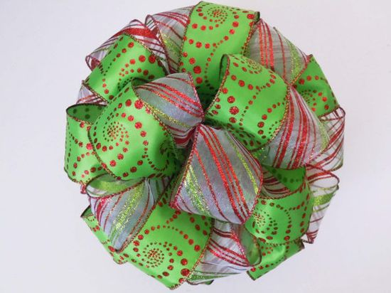 Red Green Christmas Tree Topper Bow Handmade Bow by greentraderllc, $44.95