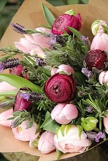 ranunculus and tulips with rosemary and lavender