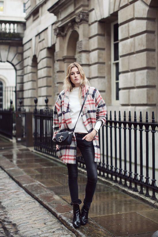 #StreetStyle Plaid coat.
