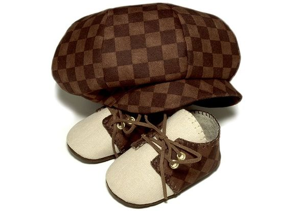 Lucas Baby Boy Hat and Shoes Sporty Golf Set Brown by pink2blue, $58.00