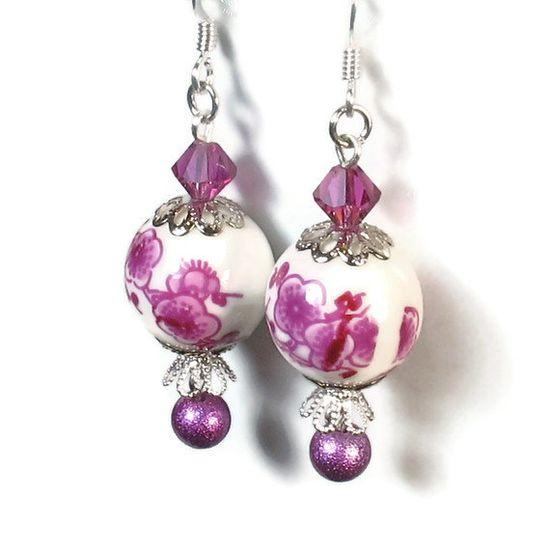 Fuchsia Flower Bead Dangle Earrings. $12.00, via Etsy.
