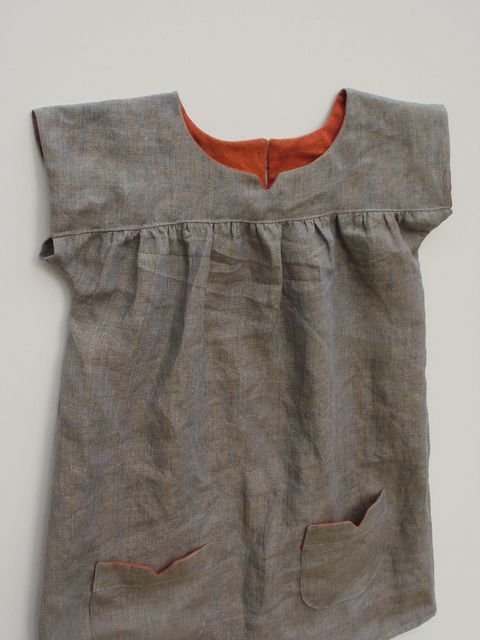 linen dress with contrast facings