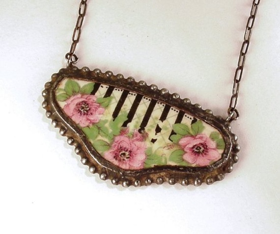 Broken china jewelry necklace by Laura Beth Love Dishfunctional Designs
