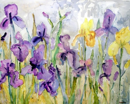 Flower Painting, Irises Springtime Floral Art Watercolor PRINT