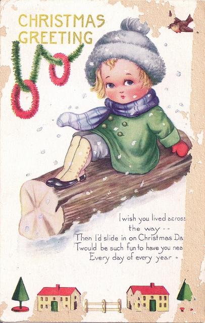 Very cute vintage Christmas greetings. #vintage #Christmas #cards