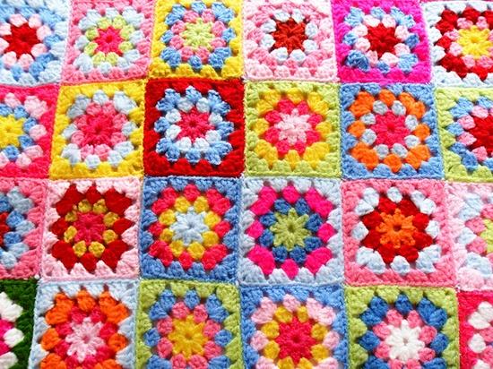 bright sunshine in a crochet blanket