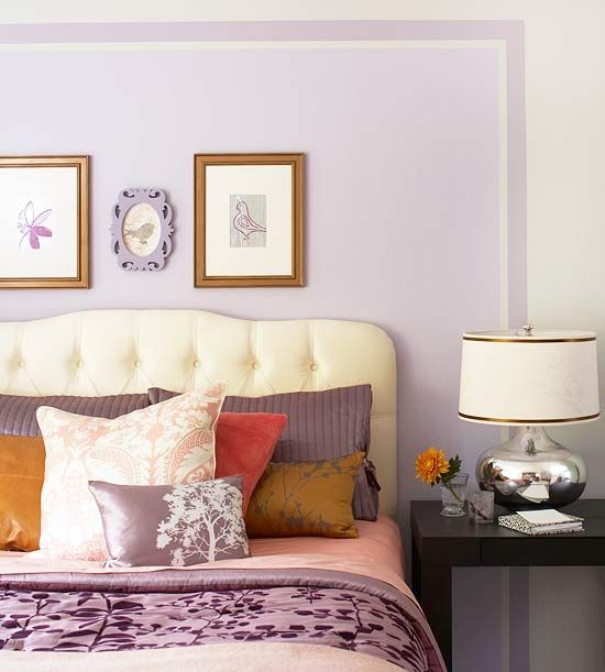 Gold and purple bedroom.