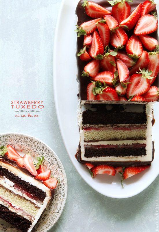 Strawberry Tuxedo Cake from @Sara Eriksson Baker Royale