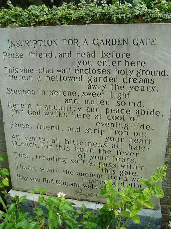 Inscription For a Garden Gate, Pearl Hiatt