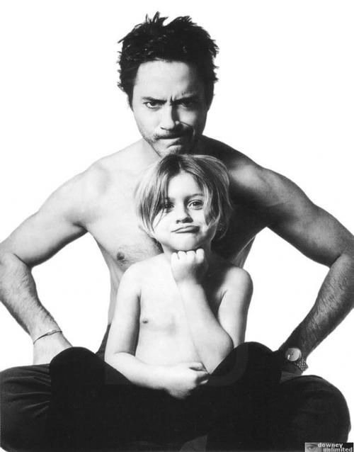 Robert Downey Jr. and his son.