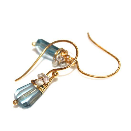 London Blue Topaz Earrings Rough Diamond Earrings by FizzCandy, $75.00 #diamonds #londonblue #topaz #earrings #fizzcandy