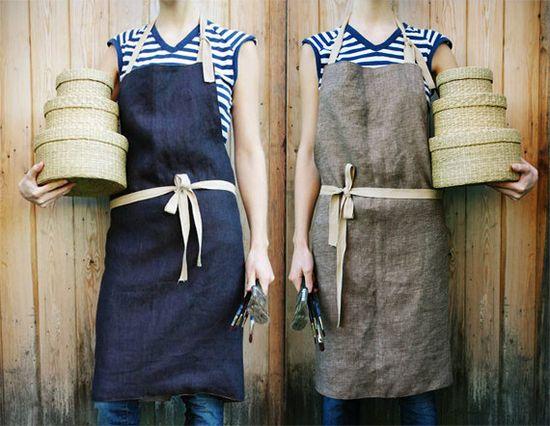 unisex handmade linen aprons