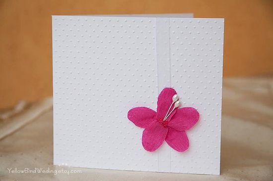 Handmade invitation  fuchsia and white by YellowBirdWedding, $3.00