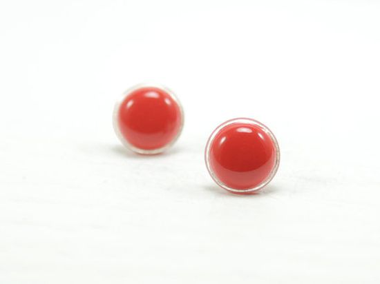 #bright #red #stud #earrings #round #modern #wedding #bridesmaid #jewelry #postearrings #jewelry