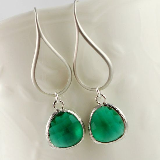 Teardrop Wire Earrings with Emerald Green by anatoliantaledesign