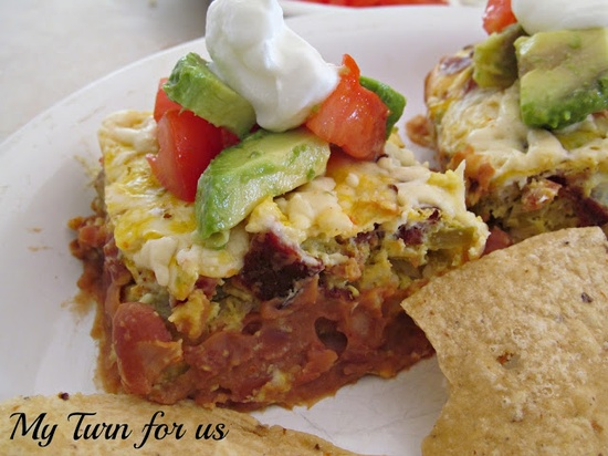 Mexican Breakfast Casserole myturnforus.com #breakfast #recipe #Mexican #casserole