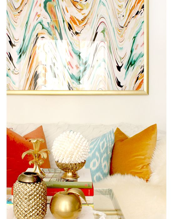 Gold living room accents
