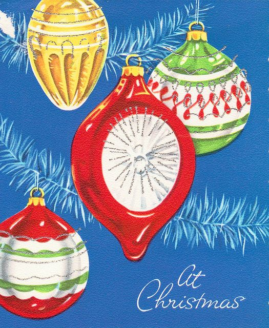 Vintage Christmas ornament card