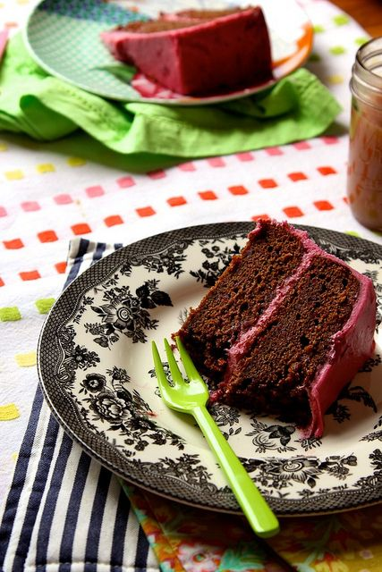 Chocolate Beet Cake w/ Beet Cream Cheese Frosting. Yes, beets. And I'm definitely making this.